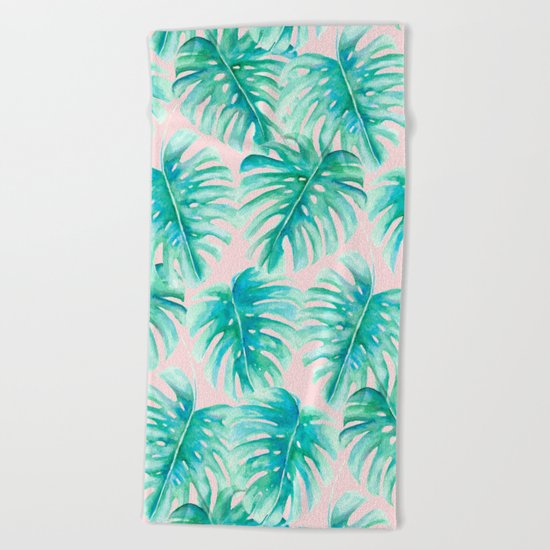 Paradise Palms Blush Beach Towel