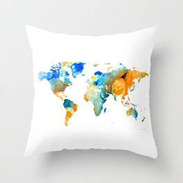 World Map Art - Map Of The World 14 - By Sharon Cummings Throw Pillow