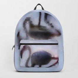 Flamingo Walking In Heather Water Backpack