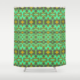 Vintage Psychedelic Kitsch Pattern Green Shower Curtain