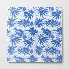 palm leaves classic blue Metal Print