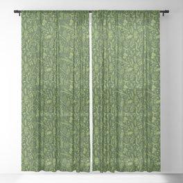Woodland walk - dark acid green Sheer Curtain