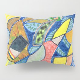Tropical Shapes Cocktail with Leaves Pillow Sham