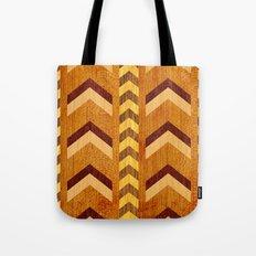 Wood Inlaid Chevrons Tote Bag