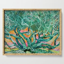 Green Tree and Sunset Watercolor Serving Tray