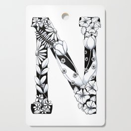 Floral Pen and Ink Letter N Cutting Board