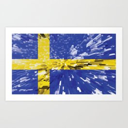 Extruded Flag of Sweden Art Print