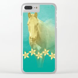 Golden ghost horse on teal Clear iPhone Case