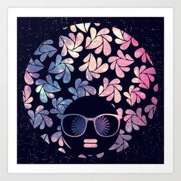 Afro Diva Mauve Teal Galaxy Art Print
