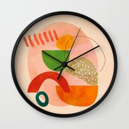modern art abstract shapes play 3 Wall Clock