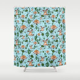 Cute Desert and Fennec Fox Pattern Shower Curtain