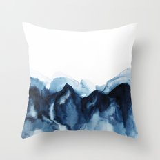 Abstract Indigo Mountains Throw Pillow