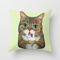 lil bub Throw Pillows featuring Lil Bub - famous cat by PaperTigress
