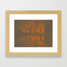 Temple of Debod, Madrid, reflected in the water, colorful drawing illustration. Framed Art Print