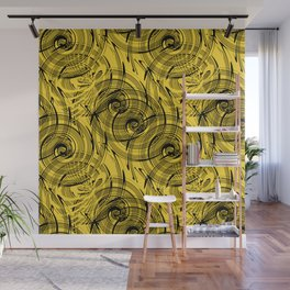 Yellow , black , abstraction , spiral Wall Mural