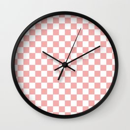 Large Lush Blush Pink and White Checkerboard Squares Wall Clock