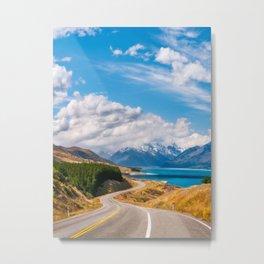 Breathtaking alpine scenery on a road trip in Mount Cook NP, New Zealand Metal Print