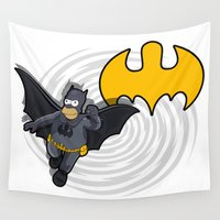 homer Wall Tapestries featuring bat-homer in action: the Simpsons superheroes by logoloco