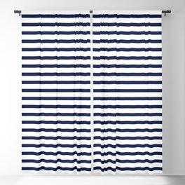 Navy Blue Nautical Stripes Minimal Blackout Curtain