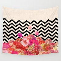 luna Wall Tapestries featuring Chevron Flora II by Bianca Green