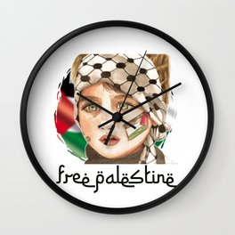 Free Palestine in watercolor Wall Clock