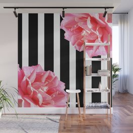 Pink roses on black and white stripes Wall Mural