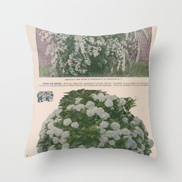 Seed Catalog Garden Floral Fruit Spirea Hydrangea Throw Pillow