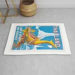 1950 Thailand Royal Barge Travel Poster Rug