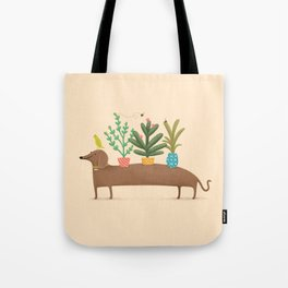 Dachshund & Parrot Tote Bag