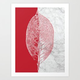 Natural Outlines - Leaf Red & White Marble #930 Art Print