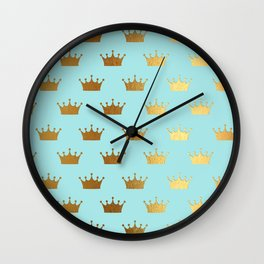Gold Glitter effect crowns on aqua - Heraldy Pattern for Princesses on #Society6 Wall Clock
