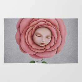 girl with her head in the blooming rose Rug