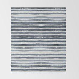 Simply Shibori Stripes Indigo Blue on Lunar Gray Throw Blanket