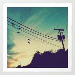 Sneakers On A Wire Art Print
