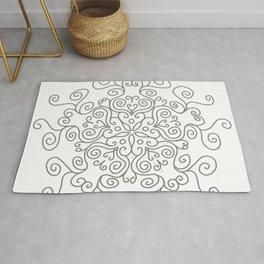 Gray Line Swirl Mandala Rug
