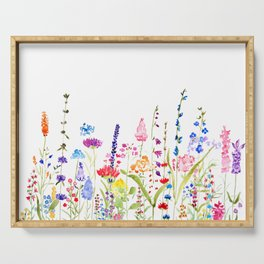 colorful wildflower fields watercolor Serving Tray