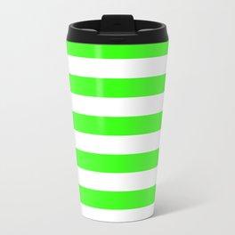 Narrow Horizontal Stripes - White and Neon Green Travel Mug