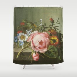 Rachel Ruysch - Spray of flowers, with a beetle on a stone balustrade Shower Curtain