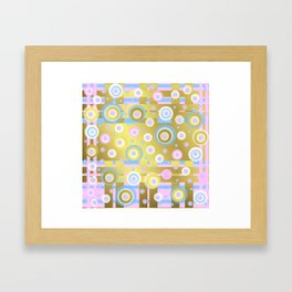 Gold, Rose, Blue, retro pattern, balls, stripes, shiny Framed Art Print