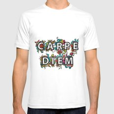 Carpe Diem SMALL White Mens Fitted Tee