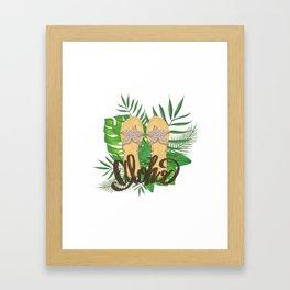 Aloha Hand Painting Palm Leaves Hand Drawn Framed Art Print