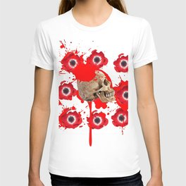 BLACK BLOODY RED EXPLODING BLOOD POPPIES SKULL ART T-shirt