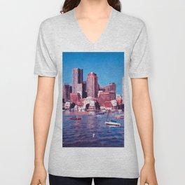 Boston, Panorama Unisex V-Neck