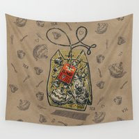 tote bag Wall Tapestries featuring Tea bag by pakowacz