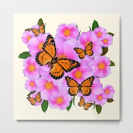 PINK ROSES MONARCH BUTTERFLIES CREAM COLOR ART Metal Print