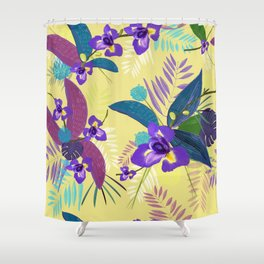 Iris Flower Purple Tropical Leaves Pattern With Yellow Background Shower Curtain