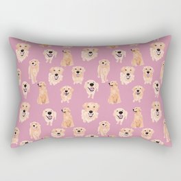 Golden Retrievers on Pink Rectangular Pillow