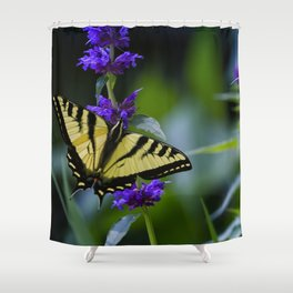 Butterfly on a Purple Flower Shower Curtain