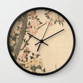 Hokusai, flowers of a cherry-tree- manga, japan,hokusai,japanese,北斎,ミュージシャン Wall Clock
