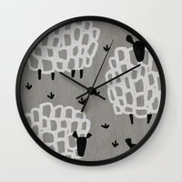 sheep Wall Clocks featuring sheep by frameless